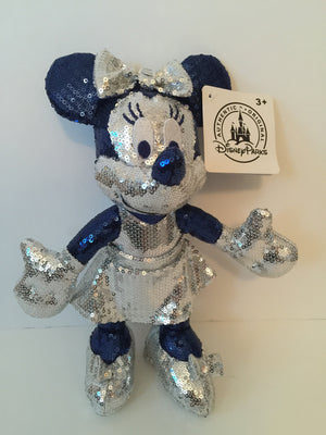 disney minnie sequined plush disneyland diamond celebration 11'' new w tags