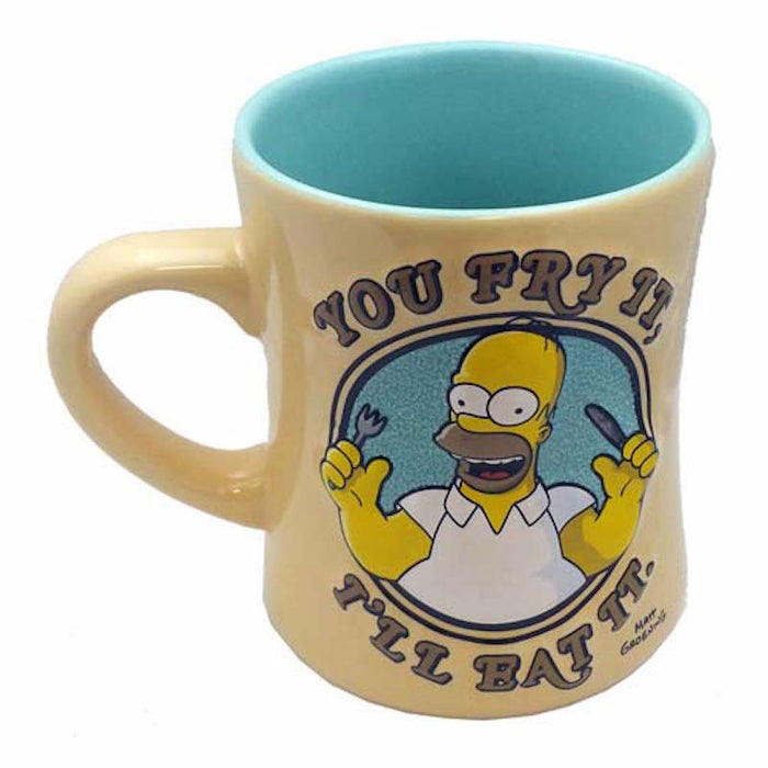 universal studios coffee cup mug the simpsons homer you fry it? i'll eat it new