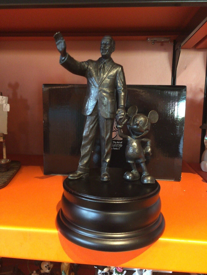 Disney Bronze Sculpture Statue Mickey Mouse and Walt Partners New with Box