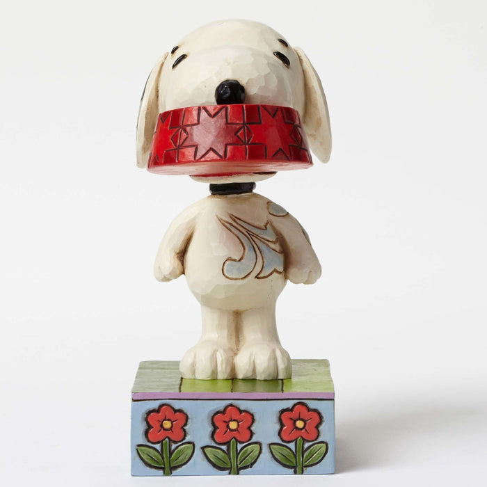 enesco peanuts snoopy with dog dish figurine new with box