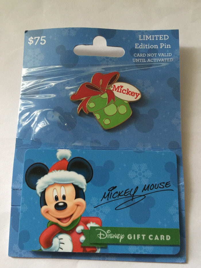 disney parks christmas mickey present limited pin with empty gift card new