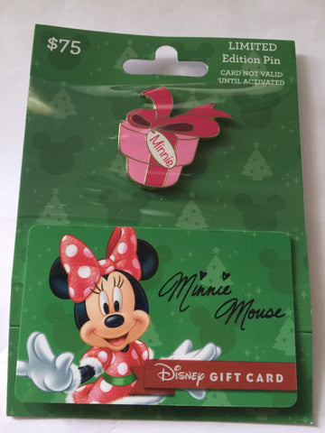 disney parks christmas minnie present limited pin with empty gift card new
