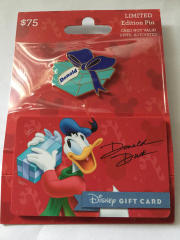 disney parks christmas donald duck present limited pin with empty gift card new