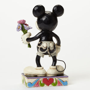 Disney Jim Shore Traditions mickey black and white with flowers new with box