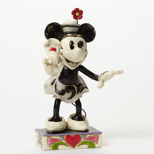 Disney Jim Shore Traditions minnie black and white with flowers new with box