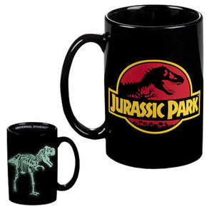 universal studios jurassic park glow in the dark ceramic coffee mug new