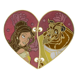 Disney Parks Couples Heart Shaped Stiched Belle and Beast Pin New with Card