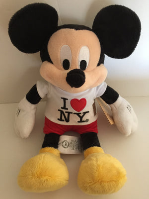 "disney store authentic 12"" mickey mouse i love new york plush new with tags"
