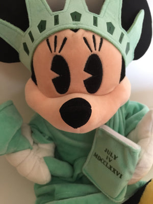 "disney store authentic 18"" minnie statue of liberty NYC plush new with tags"