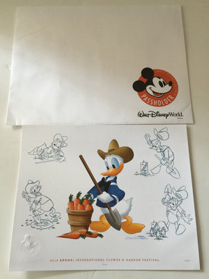 disney flower & garden 2016 donald gardener art print annual passholder new