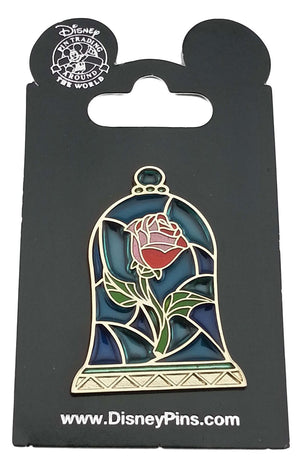 disney parks beauty and the beast rose under the glass pin new with card