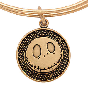 Disney Alex and Ani Parks Jack Skellington Bangle Charm Gold finish new