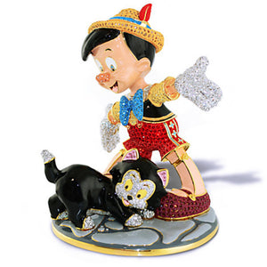 Disney Pinoccho and Figaro Jeweled Figurine by Arribas New Limited Edition 2000