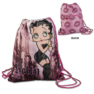 Universal Studios Betty Boop Lipstick Kisses Drawstring Backpack New With Tags