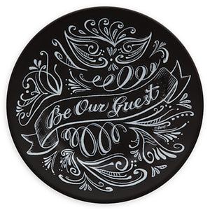 Disney Parks Chalkboard Be Our Guest Ceramic Dessert Plate Black New