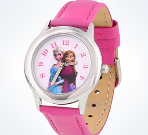 Disney Parks Anna and Elsa Leather Strap Watch New