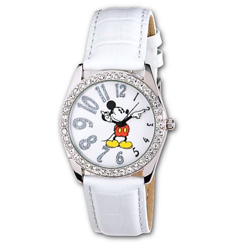 Disney Parks White Leather Glitter Mickey Mouse Watch New