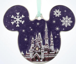 Disney Parks Mickey Castle Snowflakes Disc Christmas Ornament New With Tags