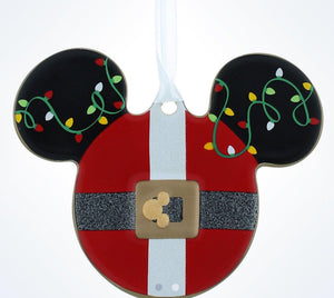 Disney Parks Mickey Icon Santa Disc Christmas Ornament New With Tags