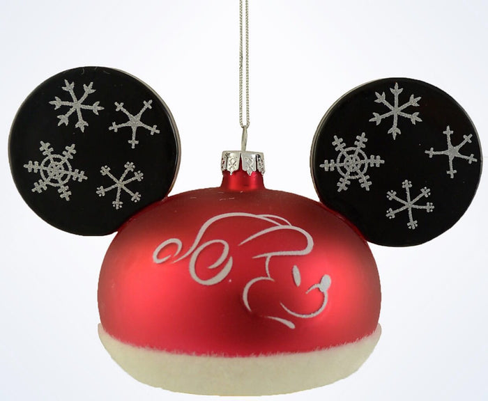 Disney Parks Mickey Santa Ear Hat Christmas Glass Ball Ornament New With Tags