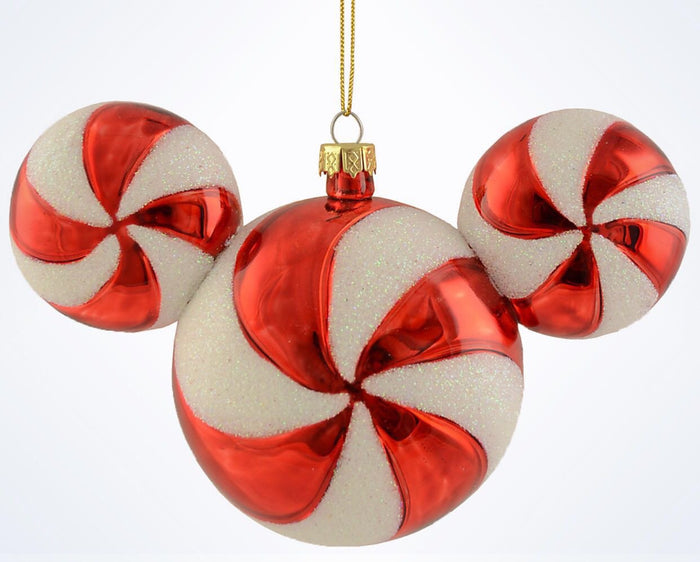 Disney Parks Mickey Icon Peppermint Christmas Glass Ball Ornament New With Tags