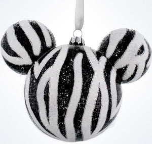 Disney Parks Mickey Icon Zebra Print Christmas Glass Ball Ornament New With Tags