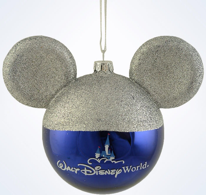 Disney Parks WDW Mickey Icon Christmas Glass Ball Ornament New With Tags