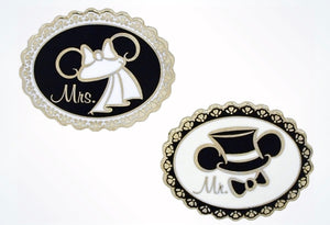 Disney Parks Mickey & Minnie Wedding Mr. & Mrs. Ear Hat Pin New With Card