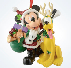 disney parks christmas santa mickey mouse with pluto ornament new with tag