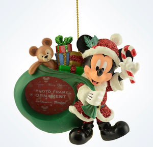 Disney Parks Mickey As Santa & Duffy Photo Frame Christmas Ornament New W Tags