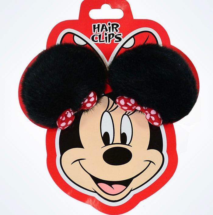 Disney Parks Minnie Mouse Plush Ears Hair Clips New With Card