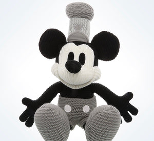 Disney Parks Mickey Mouse Crochet Knit Steamboat Willie Plush New With Tags