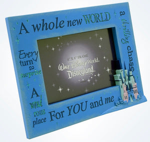 Disney Parks A Whole New World For You and Me Picture Photo Frame 4x6 New