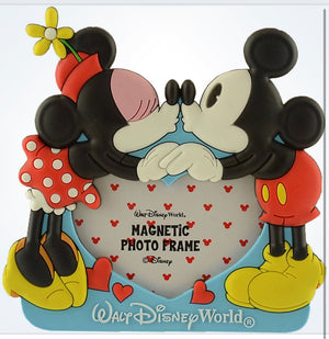 Disney Walt Disney World Mickey Minnie Hearts Photo Picture Frame Magnet New