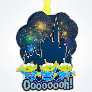 Disney Parks Toy Story Aliens & Castle Fireworks Christmas Ornament New W Tags