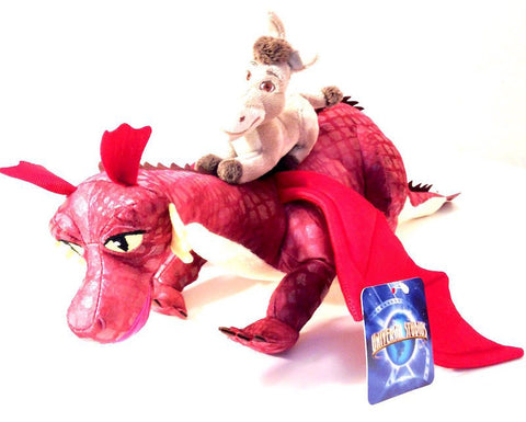 "Universal Studios Shrek 4-D 23"" Donkey Riding Dragon Plush Toy New With Tags"