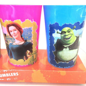 Universal Studios Shrek Fiona Donkey 4-D Set of 4 Tumblers Cups New with Box