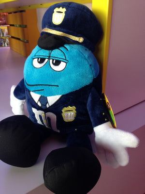 M&M's World Blue Character as Policeman Soft Plush New with Tags