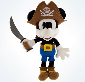 "Disney Parks Mickey Mouse as Pirate 9"" Plush Doll New with Tags"