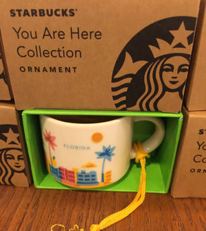 Starbucks Coffee You Are Here Florida Ceramic Mug Ornament New with Box