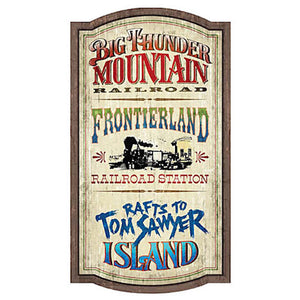 Walt Disney World Frontierland Attractions Magic Kingom Wood Wall Sign New