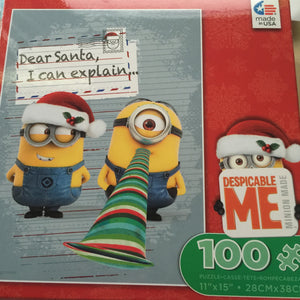 Despicable Me Minion Dear Santa Holiday 100 pcs Jigsaw Puzzle Ceaco New with Box - I Love Characters