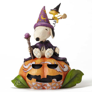 Peanuts Jim Shore Halloween Wizard Snoopy and Witch Woodstock Figurine New w Box