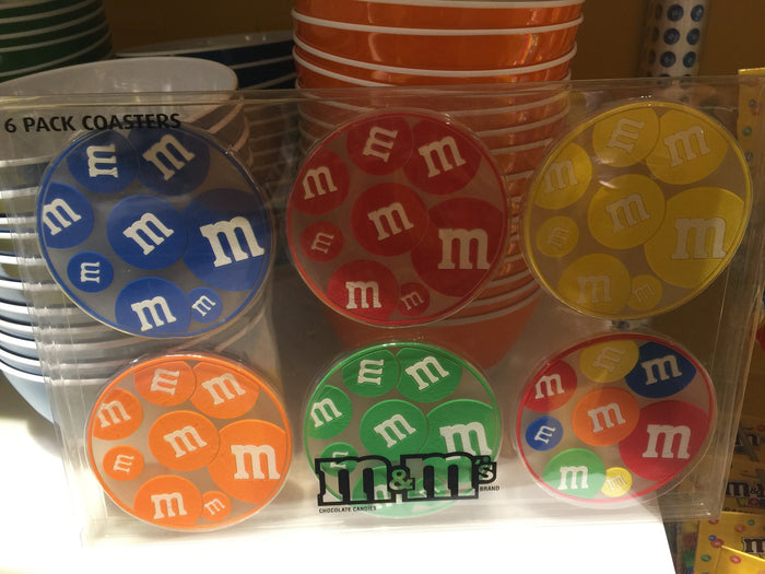 M&M's World Candy Coaster Set of 6 Multicolors New with Box