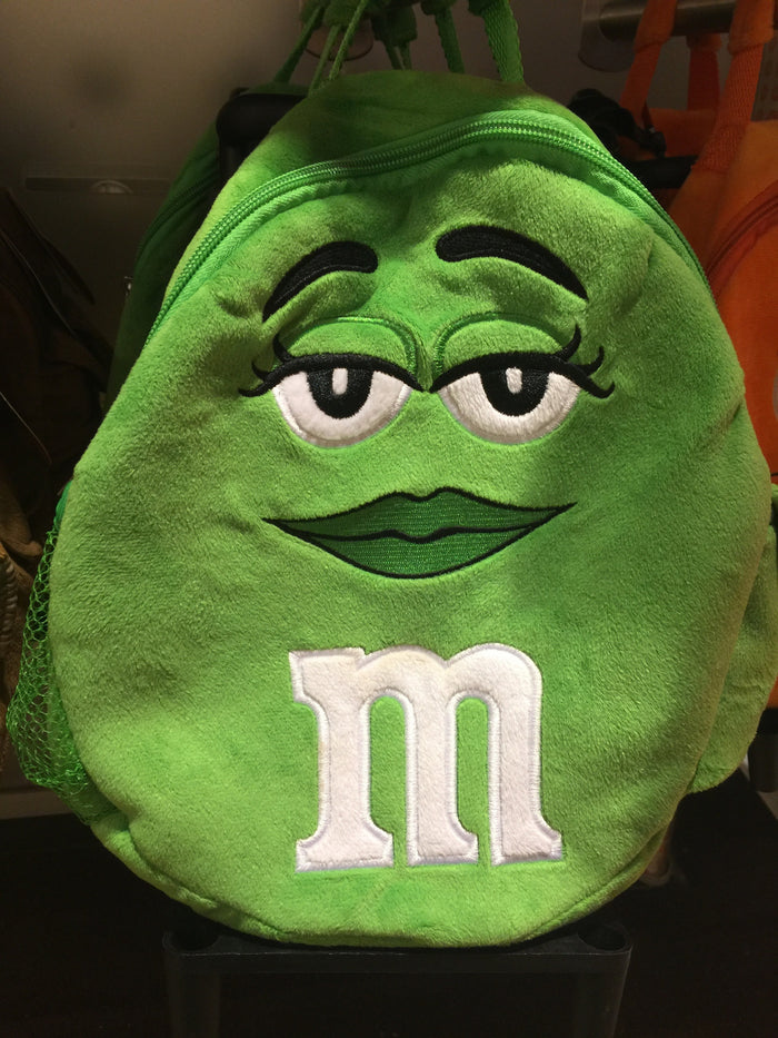 M&M's World Green Character Plush Backpack Trolley For Child New with Tags