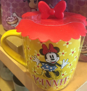 Disney Parks Minnie Mouse Bow Ceramic Coffee Mug with Silicon Lid New