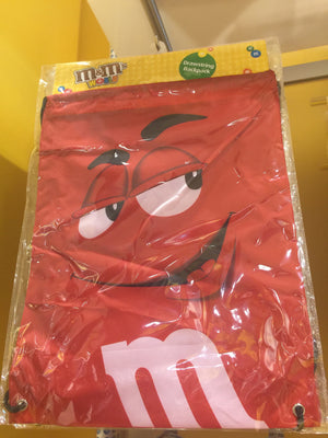 M&M's World Red Nylon Drawstring Backpack New Sealed