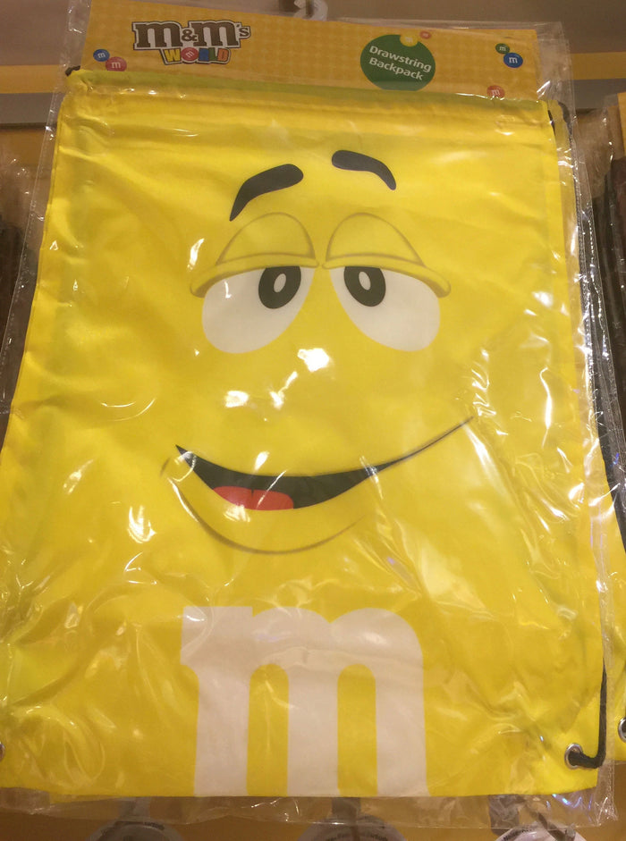 M&M's World Yellow Nylon Drawstring Backpack New Sealed