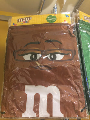 M&M's World Brown Nylon Drawstring Backpack New Sealed