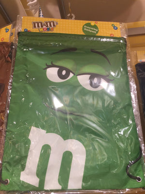M&M's World Green Nylon Drawstring Backpack New Sealed